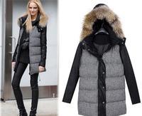 2014 European  American winter jacket women,new fight skin thicken plus cotton hooded plover cotton wool coat fur collar coat