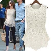 Desigual 2014 Summer Women Top White Lace Blouses Plus Size Sleeveless Camisa Chiffon Blusa De Renda Lace Tops Sexy Shirts Sale