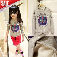 New arrival 5cs/lot 2014 autumn baby girls cartoon owl printed sweatershirt kids long sleeve t shirt Children fashion tops
