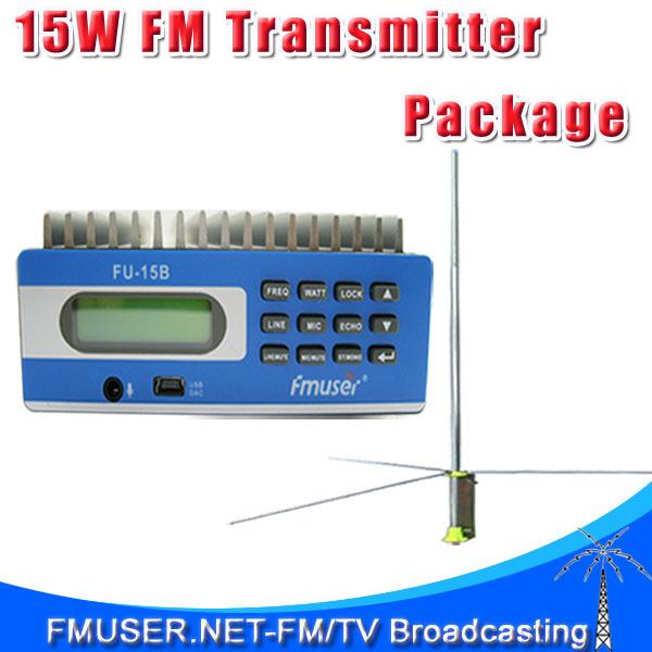 FMUSER FU-15B CZE-15B SDA-15B 15w FM transmitter PC control Shortcust keys SWR protection +1/2 wave Gp antenna+Power supply KIT(China (Mainland))