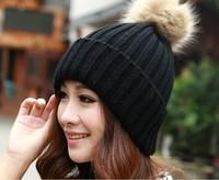Vogue Women's Candy Beanie Knitted Caps Crochet Hats Rabbit Fur Pompons Curling Ear Protect Winter Cute Casual Cap Women Beanies