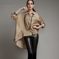 women's autumn fashion blouse shirts fashion women work wear blusas femininas 2014 long batwing sleeve irregular hem blouse