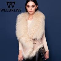 2014 New Women Genuine Lamb Fur Coats Jackets Double-Faced Fur Waistcoat Beige Color Fashion Sheepskin Shearling Real Fur Vest