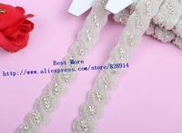 Wholesale 2.5cm Width Rhinestone Crystal Stone beaded Silver Trim Sashes Headbands Wedding Bridal Craft Twist Trim