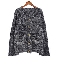 New women cardigans 2014 Black and white mixed fashion loose thickening long sections mohair cardigan sweater coat 6204