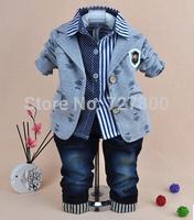 2014 new boys gentlemen blazer+shirt+pant clothing sets 3pcs kids clothes sets baby boy coat set boy children clothing
