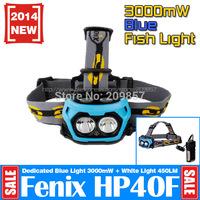 New Fenix Hp40F Fishing Headlamp Cree XP-E2 M3 LED Blue Light +XP-G2 R5 LED 450lm without disturbing fish Flashlight Lanterna