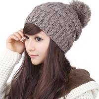 Korean Fashion Beanies influx warm wool Winter Knitted hat For Women Sphere ear cute Crown Coffee cap 0218