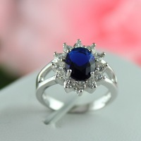 60% off Princess Same Rings Fashion Beautiful Austrian Crystal Sapphire Jewelry Sterling Silver 925 for Women Wedding Gift Y050