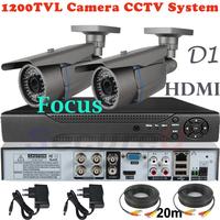 Cheap CCTV Thermal Safe System 4ch D1 HDMI DVR Surveillance Security Video System 1200TVL HD Outdoor Good Night Vision IR Camera