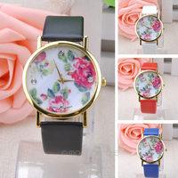 2014 New Fashion GENEVA Rose Flower Watches Women Dress Watch stylish women casual watch Quartz Watches free shipping 26MPJ057