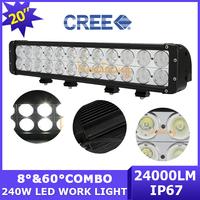 20 inch led light bar 240W 12V/24V 4WD Pickup Dual row Cree LED Off-road work light Combo Beam ATV 4x4 Truck camper AWD 24000lm