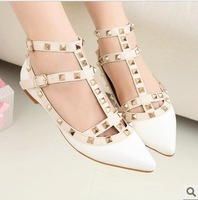 Free shipping newest flat shoes, women's fashion rivets buckled belt flat shoes 35~39