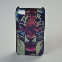 Horrible Tiger Case Cover New Arrival Fashion Items PC Hard Housing Luxury Case for iPhone 5 + Front Protector Screen Protective