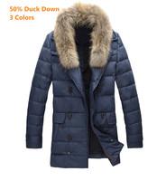50% Duck Down Men's Racoonhair Collar Patchwork 3 Colors M-3XL Winter Coat Men Outdoors Napka Casual Jacket Y-3157