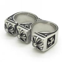 Unique Design Men's Women's 316L Stainless Steel Jewelry, Fleur Die Lis Charming Double Punk Ring