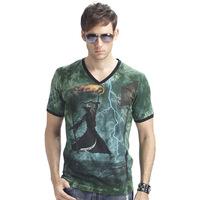 New 2014 summer 3D Night light men t shirt short sleeve man 3D Grim Reaper Glow Fashion t-shirt  V-Neck High Quality L-XXXL