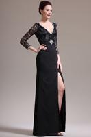 Latest V-Neck Full Sleeve Back Heavy Beading Floor Length Black Evening Dress