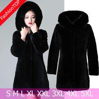 F1198 New 2014 Women Large Size S M L XL XXL XXXL 4XL 5XL Winter Faux Mink Fur Coats With A Fur Hoody