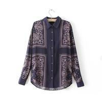 Fall New Women Blouse Blue Printed Cotton Shirt Office Dress Plus Size Long Blouses & Shirts Fashion Blusas Femininas