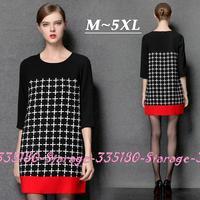 M-XXXXXL Brand Contrast Color Cross Half Sleeve Loose Dress Casual Women Print Dresses 2014 Autumn Plus Size Clothing 1539