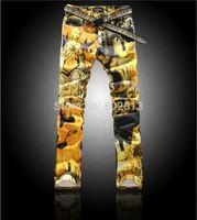 Amazing Fashion Men Club Skinny Print Jeans Colored Drawing Slim Elastic Sexy Man Party Pants