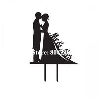 Cheap Designer Silhouette Bride and Groom Wedding Cake Topper Mr & Mrs Acrylic decoration Free shipping