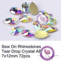72pcs 7x12mm Sew on Rhinestones Crystal AB Tear Drop Shape Flatback Sewing Crystal