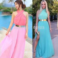 A8265  Free shpping 2014 Vestido De  Festa Fashion maxi chiffon dress Creased dress Plus Size Party dresses (Not Including Belt)