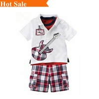 Brand new 2014 summer casual short-sleeved track suit high quality children's T shirt + pants 2 pcs set for boy clothes