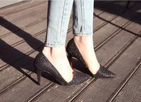 Bling bling Slim women's sequins high heel shoes, free shipping high heel, 35~39