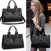 Fashion Designer Black Mango Plaid Shouder Bag Women PU Leather Handbag Bucket Messenger Tote Vintage Elegant Bags Free Shipping(China (Mainland))