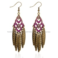 Enamel Alloy Earrings, with Iron Pendants, Iron Earring Hooks, MediumVioletRed, 80x19mm