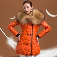 Leather clothing 2014 large fur collar genuine sheepskin leather down coat female genuine leather clothing medium-long