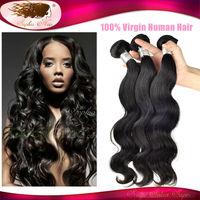 6A Unprocessed Peruvian Virgin Hair Body Wave Peruvian Virgin Human Hair Weave Wholesale No Tangle 3 Pcs Free Gift Lace Wig Cap