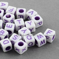 Solid Color Letter Acrylic Beads, Dice, Cube, MediumOrchid, 6x6x6mm, Hole: 3mm; about 3100pcs/500g