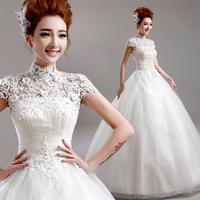 Wedding dress 2014 Princess sexy lace embroidered halter lacing wedding dress high collar word shoulder bandage wedding dress