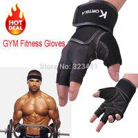 Men Body Building Fitness gloves half finger with Wrist Support Wight lifting gloves Barbell Dumbbell gym Gloves Black