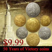 Sample order!!7pcs/$9.99/Set of 50 Years of Victory 7 Russia gold *silver plated coins  free shipping.