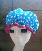 Bule dot Wholesale Satin waterproof shower cap  shower parts barber salon supplies EVA hat hair satin bonnets