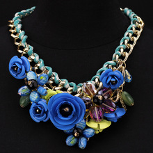 Hot Sale New Fashion Necklaces For Women 2014  Color Crystal Flowers Necklace  Fashion Jewelry Accessories Wholesale
