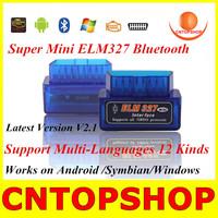 Professional Blue ELM327 Latest Version V2.1 Auto Diagnostic Scanner Tool ELM 327 Bluetooth Support Multi-Languages