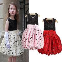 Kids Girls Flower Polka Dots Puffy Dress Princess Sleeveless Dress Party Costume 2-7Y Free Shipping