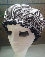 Coffee Zebra  Wholesale  waterproof shower cap homewale shower parts barber salon supplies colorfull EVA hat hair satin bonnets