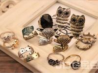 Stylish Vintage Owl Pearl beauty crown fox Animal Rings Rose Eye Flower Rings Simulation gemstone women mix order 36pcs