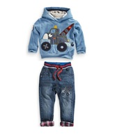 freeshipping!2014 new!children's clothing boy clothes long-sleeve car hoodie sweater + jeans two sets of casual clothes 5set/lot