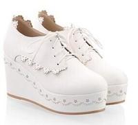 Black/White/Green New 2014 Spring Women Canvas Sneakers Platform Height Increasing Women Sneaker Platform Wedge High Heels Shoes