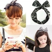 Min.order is $10 (mix order) Lovely Dot Rabbit Bunny Ear Ribbon Metal Wire Headband Scarf Hair Head Band Bow