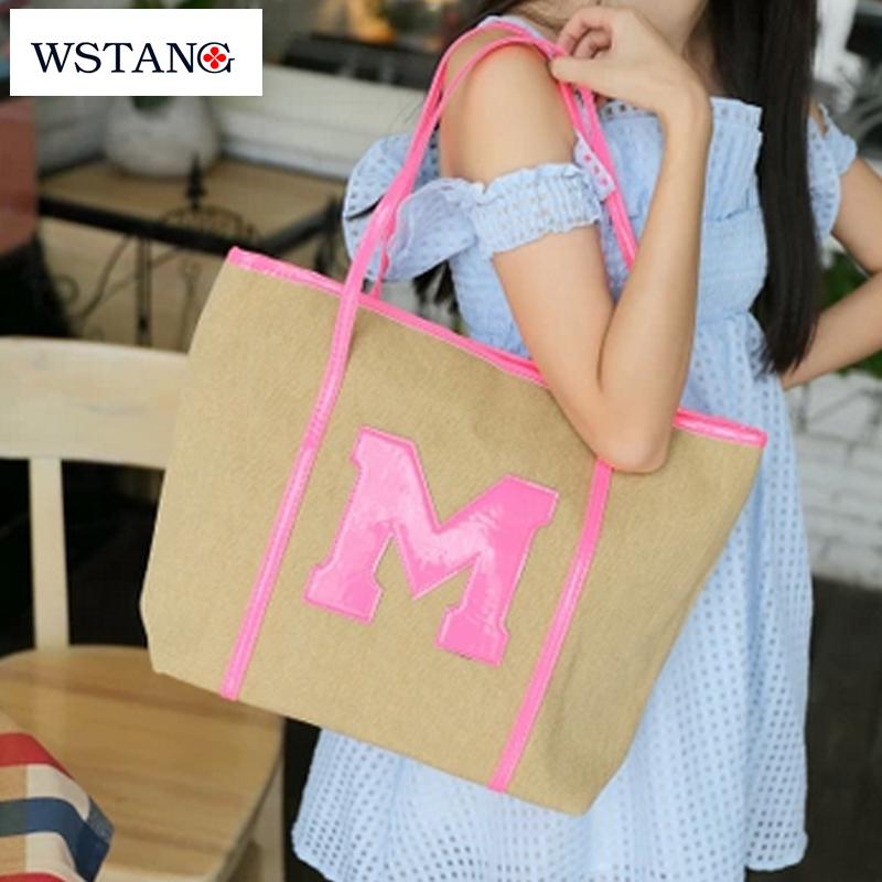 W S Tang new 2014 neon cotton hemp color block the trend women's shoulder bag handbag fashion letter m handbag woven bag(China (Mainland))