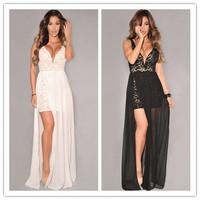 vestido de verao femininos White/Black Lace Plunging Neck Slit Evening Gown new 2014 sexy women summer dress vestido de festa